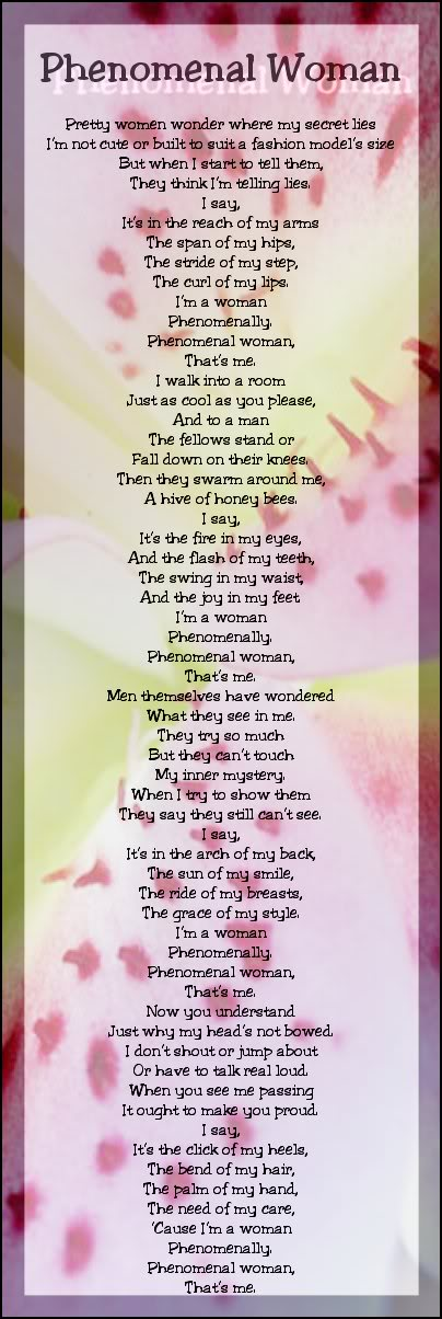 Phenomenal Woman Quotes Mesmerizing Phenomenal Womanmaya Angelou Mariethérèse O'loughlin